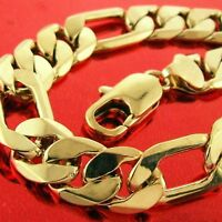 NECKLACE CHAIN GENUINE REAL 18K YELLOW G/F GOLD SOLID MEN'S HEAVY FIGARO LINK