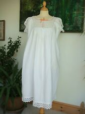 """Original Vintage Victorian Hand Made Nightdress Bust up to 48"""" Peach Ribbon"""
