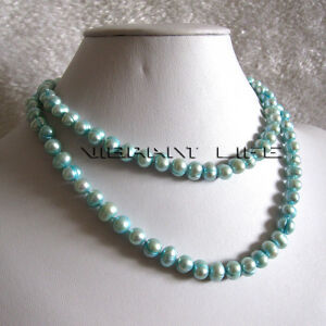 """32"""" 6-8mm Turquoise Blue Freshwater Pearl Necklace U"""