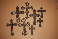 (8) OLD WORLD STYLE CROSS WALL DECOR, CAST IRON CROSS COLLECTION,CHRISTIAN DECOR