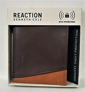 Kenneth Cole Reaction Mens pu leather wallet brown RFID protection rrp$69 new