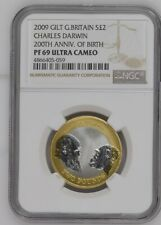 More details for 2009 great britain gilt charles darwin 200th anniv of birth ngc pf69uc