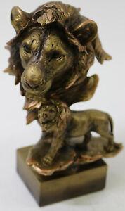 Male Lion Bust Original Artwork by Milo Bronzed Sculpture Figurine Statue Decor