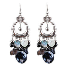 New Bohemia Chandelier Black Crystal Tassel Earrings Retro Dangle Earring Chic