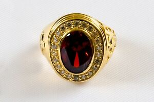 Brand New Mens Oval RUBY RED CLERGY APOSTLE RING, 14k Gold Plated  (Style 002)