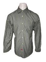 Banana Republic XL Green Black Stripe Mens Casual Button-Front Shirt - 17 - 17.5