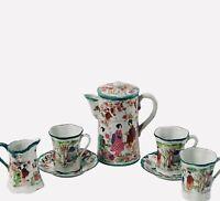 Antique Japanese Geishas Green Border Eggshell Porcelain Chocolate Pot Set 8 Pcs