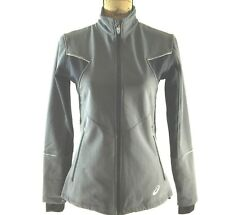 ASICS Jacket Sm S Gray Blue Fleece Lined Warm Fitted Thumb Hole Pocket Athletic