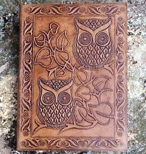 HAND MADE LEATHER BLANK JOURNAL DIARY NOTEBOOK BOOK SKETCH GIFT PAD THOUGHTS OWL
