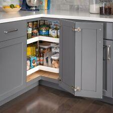"Set of Two - 28"" Diameter Kitchen Base Cabinet Kidney Lazy Susan Shelves & Pole"