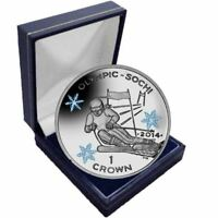Isle of Man 2014 Winter Olympic Coloured Unc. CuNi Skiing Coin in a box