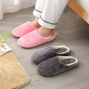 Women Men Floor Slippers Non-slip Plush Shoes Flat Fall Winter Home Warm Indoor