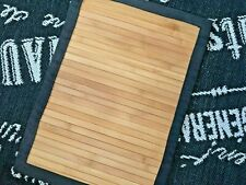 """Thick Natural Bamboo Large PLACEMAT Black Twill Edge 14 X 19"""" Center Table Mat"""
