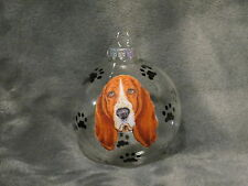 "Hand Made Bloodhound 3"" Glass Christmas Ornament / Ball"