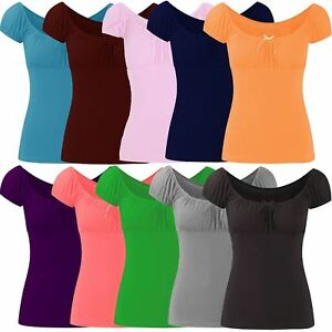 New Ladies Gypsy Tie Ribbon Casual Fitted Tops 8-22