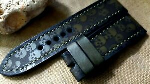 26mm Handmade quality leather watch strap, army,  skulls, green color