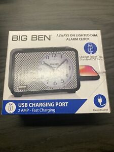 Alarm Clock Electric USB Fast Charging Port Dial Lite Battery Backup Big Ben New