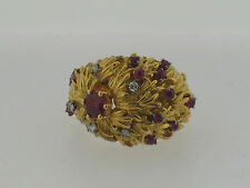 18K Yellow Gold Diamond and Ruby ring  C1950's