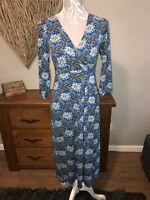 Seasalt Ladies Stunning Blue Floral Leaf Design  Lake Dress Size 8