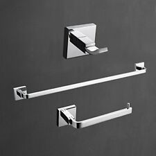 Wall Mount Solid Brass Chrome Finish Towel Robe Hook and Towel Ring Bar 3 PCS