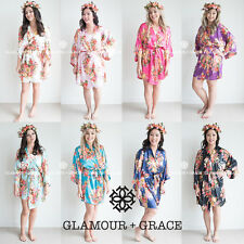 Satin Floral Vintage Robe Dressing Gown Wedding Bridal Bride Bridesmaid Silk