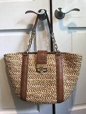 NEW Michael Kors Santorini Straw Tote Bag Natural/ Luggage Brown Leather