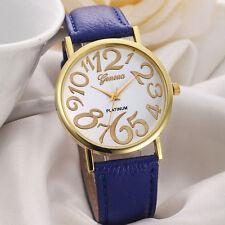 Ladies Stylish Gold Geneva Platinum Quartz White Faced Blue Band Wrist Watch.