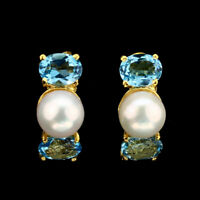 Oval Swiss Blue Topaz 8x6mm White Pearl Gold Plate 925 Sterling Silver Earrings