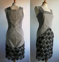 SAVE THE QUEEN Black Lace Pencil Dress Size M UK 10