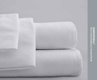Hilton Standard Textile ComforTwill White Tone/Tone Queen X Wide Flat Bed Sheet