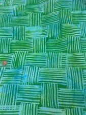 100% Cotton quilting craft Fabric Cross Hatch Green Blue Turquoise Batik tie dye