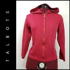 Talbots Woman Casual Outdoor Full Zipper Cropped Top Hoodie Sweater Red Sz Large