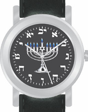 "Hebrew Numbers ""Menorah"" Watch Has Black Dial With Black Leather Strap"