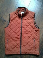 Men's Field & Stream Quilted Vest Burnt Orange Brown Trim Size Medium