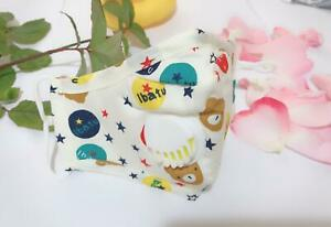 KIDS FACE MASK WASHABLE REUSABLE COTTON ADJUSTABLE PM 2.5 WITH 2 FILTER