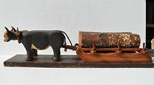 ANTIQUE/PRIMITIVE FINELY CRAVED WOOD OXEN,YOKE SLEDGE HAULING LOGS FOLK ART