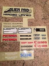 Part Decal Sheet for Hirobo Alien Mid 4 1/10 RC Car Vintage Rare 1