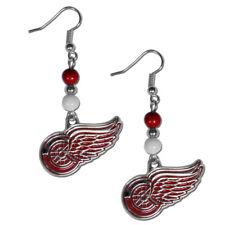 Detroit Red Wings Dangle Earrings (Fan Bead) NHL Licensed Hockey Jewelry