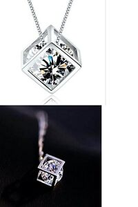 Women's Silver Filled Magic Cube Dazzling Crystal Pendant Necklace Jewellery