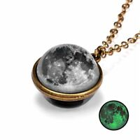 Moon Glow in the Dark Galaxy System Double Sided Glass Planet Necklace Pendant