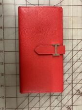Hermes Red Leather 'Bearn' Clutch Wallet authentic
