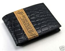New Mens Bifold Genuine Leather Wallet Alligator Crocodile Print Black Card ID A