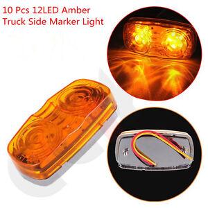 10 Pcs Amber Lens 12 LED Diodes Bulls Eye Trailer Truck Pickup Side Marker Light