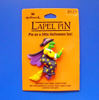 Hallmark PIN Halloween Vintage WITCH Flying BROOM Green STARS Holiday Brooch NEW