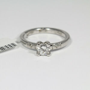 Platinum 950 Solitaire Ring Brilliant 0,5ct. Si / Tw Gr.54 Made IN Germany