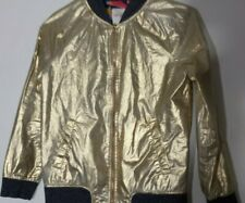 Girls Cat & Jack gold metallic zip up jacket size L 10 12
