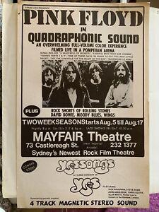 Original 70's PINK FLOYD Film Promotional Flyer/Poster - Mayfair Theatre Sydney
