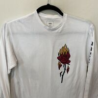 Vans Classic Skater Long Sleeve Graphic T-Shirt Men's Medium White Rose