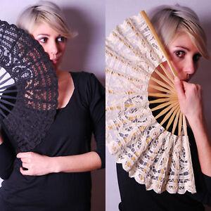 Renaissance Lace Bamboo Spanish Party Hand Fan Black, White & Ivory