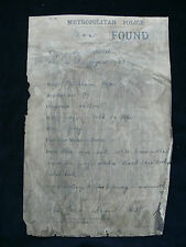 Metropolitan Police Original 1923 Body of Man Found Notice - Wandsworth?